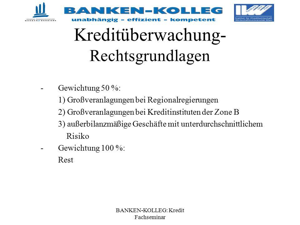 BANKEN-KOLLEG: Kredit Fachseminar Kreditüberwachung- Rechtsgrundlagen -Gewichtung 50 %: 1) Großveranlagungen bei Regionalregierungen 2) Großveranlagun