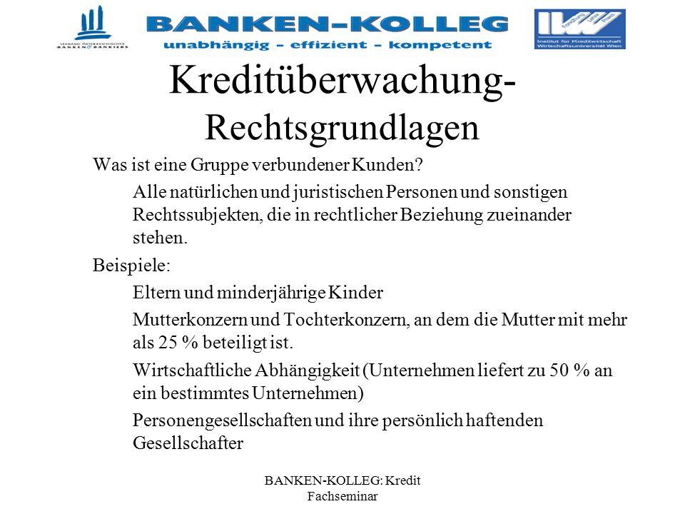 BANKEN-KOLLEG: Kredit Fachseminar Kreditüberwachung- Rechtsgrundlagen Was ist eine Gruppe verbundener Kunden? Alle natürlichen und juristischen Person