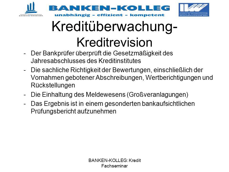 BANKEN-KOLLEG: Kredit Fachseminar Kreditüberwachung- Kreditrevision -Der Bankprüfer überprüft die Gesetzmäßigkeit des Jahresabschlusses des Kreditinst