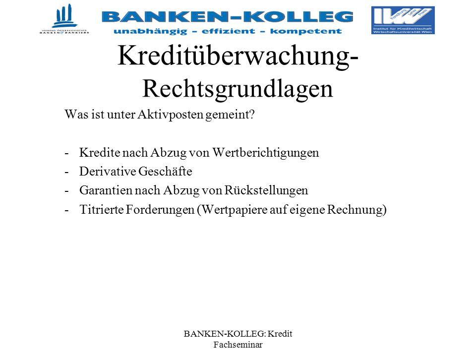 BANKEN-KOLLEG: Kredit Fachseminar Kreditüberwachung- Rechtsgrundlagen Was ist unter Aktivposten gemeint? -Kredite nach Abzug von Wertberichtigungen -D