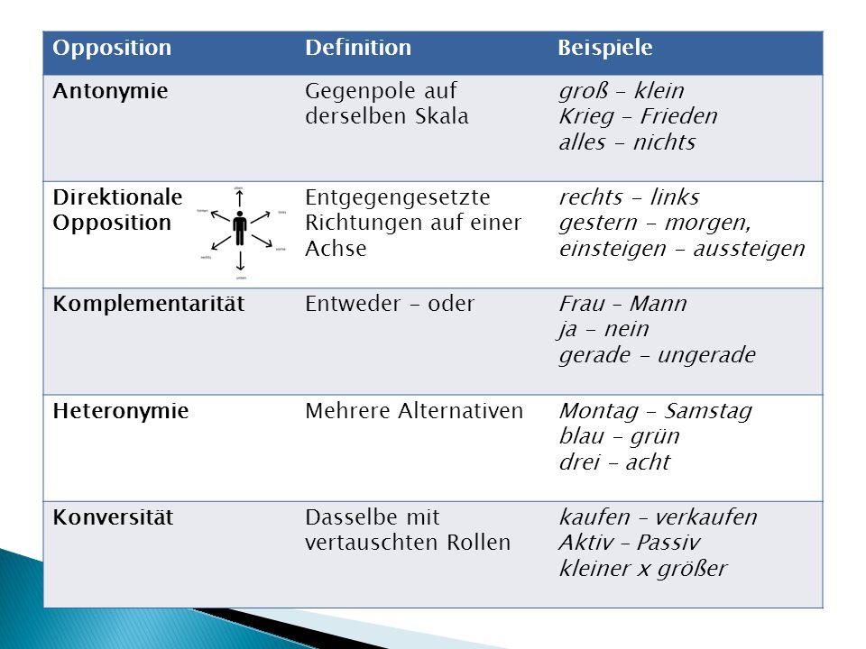  größere semantische Gruppen von Lexemen: ◦ dieselbe grammatische Kategorie ◦ Bedeutungen mit gemeinsamen Bestandteilen ◦ klar defeinierte Bedeutungsbeziehungen ◦ Gruppe bezüglich dieser Beziehungen abgeschlossen  Listen von Lexemen in Klammern  spezielle Bedeutungsbeziehungen KLEINE WORTFELDER Antonymenpaar bildet eine abgeschlossene Gruppe polysemer Ausdruck in 2 verschiedenen Feldern