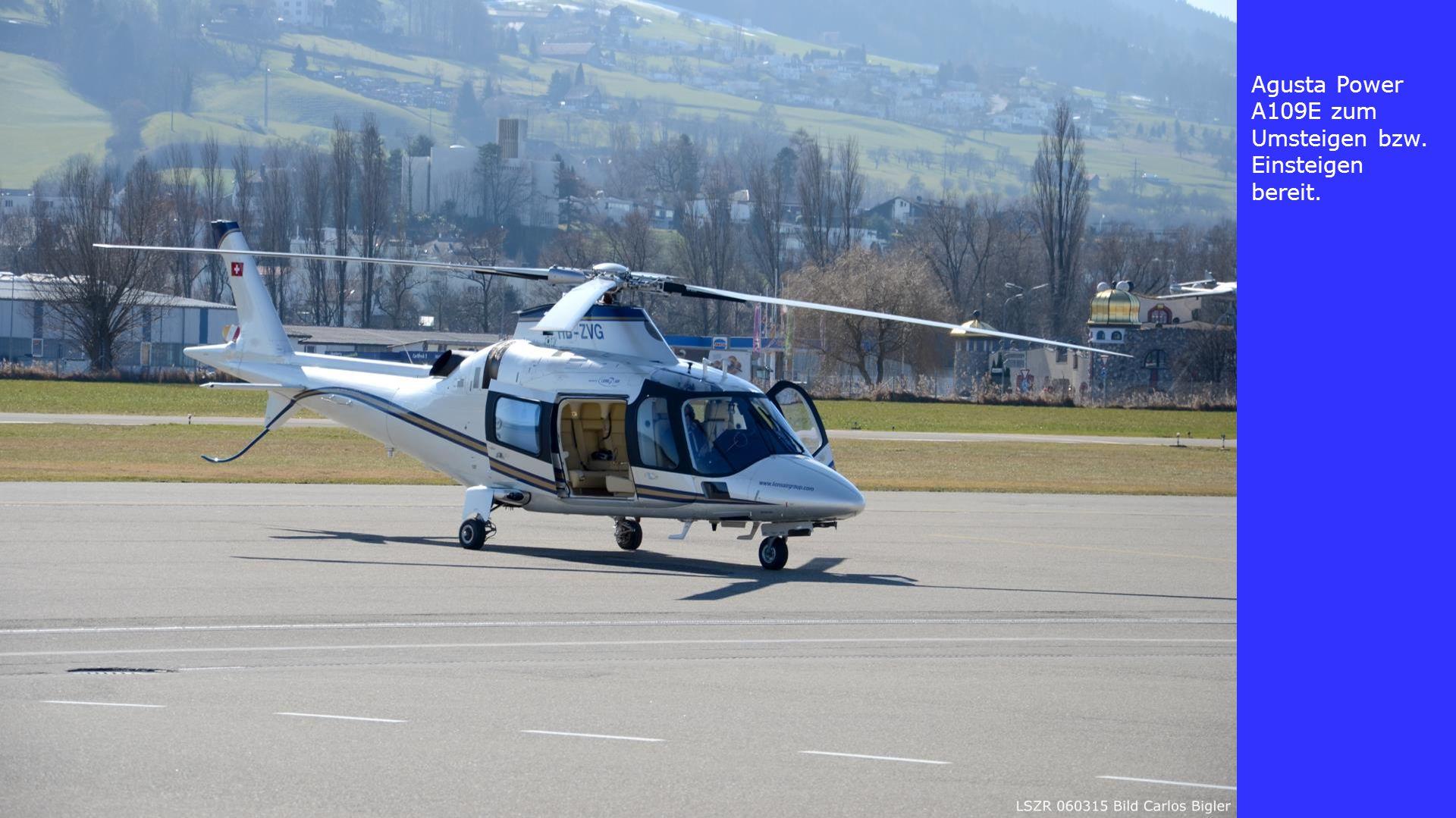 Agusta Power A109E zum Umsteigen bzw. Einsteigen bereit.