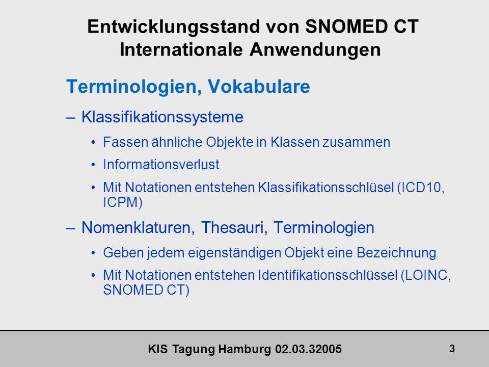 KIS Tagung Hamburg 02.03.32005 14 Entwicklungsstand von SNOMED CT SNOMED CT - Notation Die SNOMED CT Notation hat eine eindeutige Struktur –Item ID eigentliche Konzept ID –Namespace ID nur verwendet bei lokalen Entwicklungen –Partition ID 00 - Concepts 01 - Descriptions 02 - Relationships Check-digit - Prüfziffer 03 - Subsets