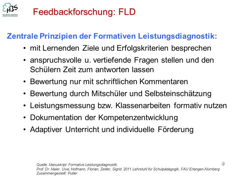 Feedbackforschung: FLD Quelle: Manuskript: Formative Leistungsdiagnostik; Prof. Dr. Maier, Uwe; Hofmann, Florian; Zeitler, Sigrid. 2011 Lehrstuhl für