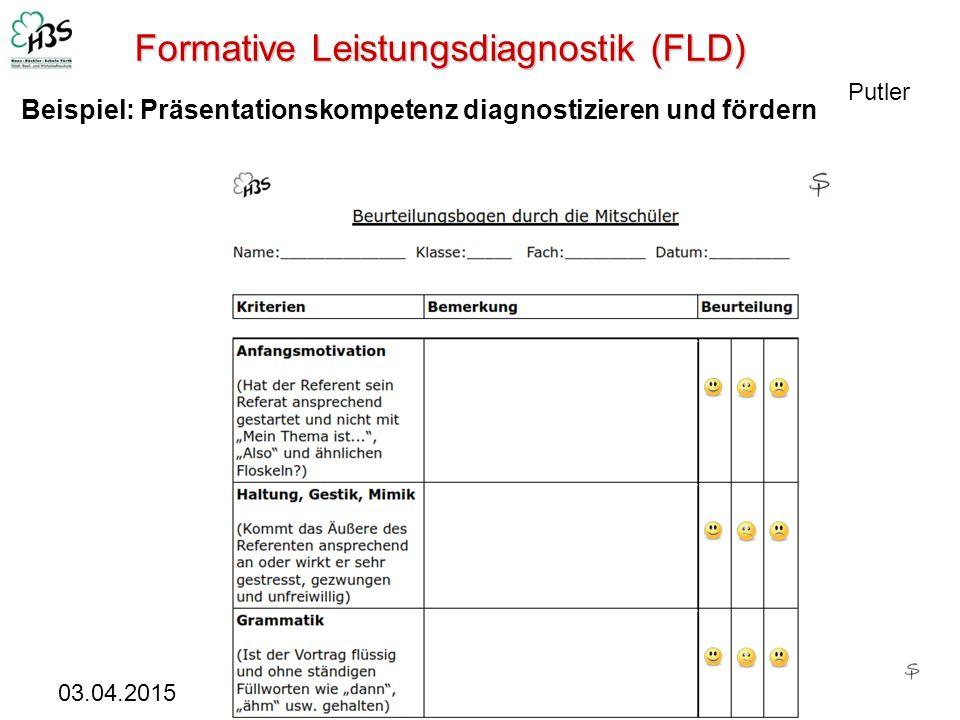 03.04.2015 22 Formative Leistungsdiagnostik (FLD) Putler Beispiel: Präsentationskompetenz diagnostizieren und fördern