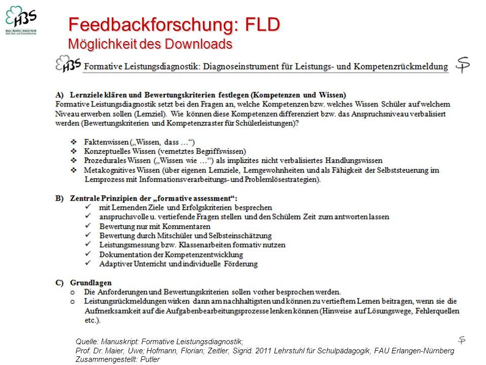 Feedbackforschung: FLD Möglichkeit des Downloads Quelle: Manuskript: Formative Leistungsdiagnostik; Prof. Dr. Maier, Uwe; Hofmann, Florian; Zeitler, S