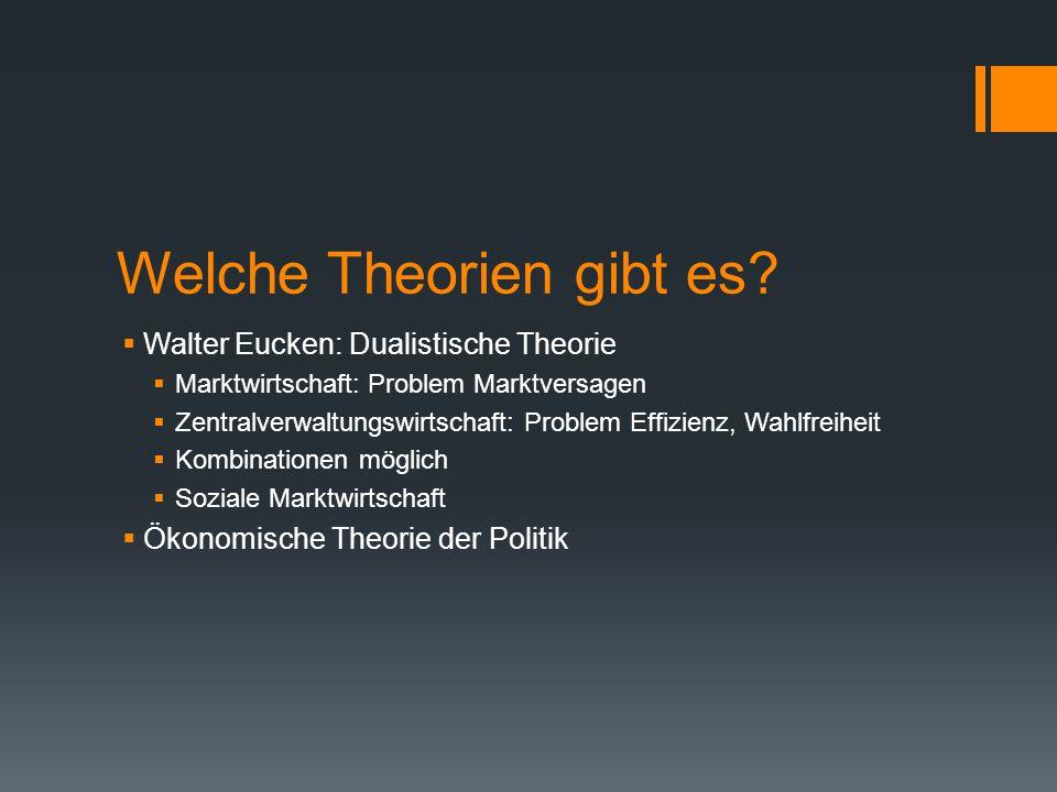 Welche Theorien gibt es?  Walter Eucken: Dualistische Theorie  Marktwirtschaft: Problem Marktversagen  Zentralverwaltungswirtschaft: Problem Effizi