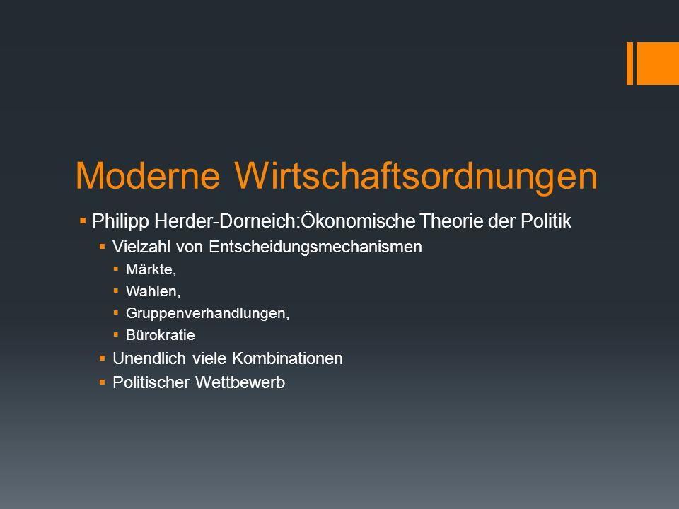 Moderne Wirtschaftsordnungen  Philipp Herder-Dorneich:Ökonomische Theorie der Politik  Vielzahl von Entscheidungsmechanismen  Märkte,  Wahlen,  G