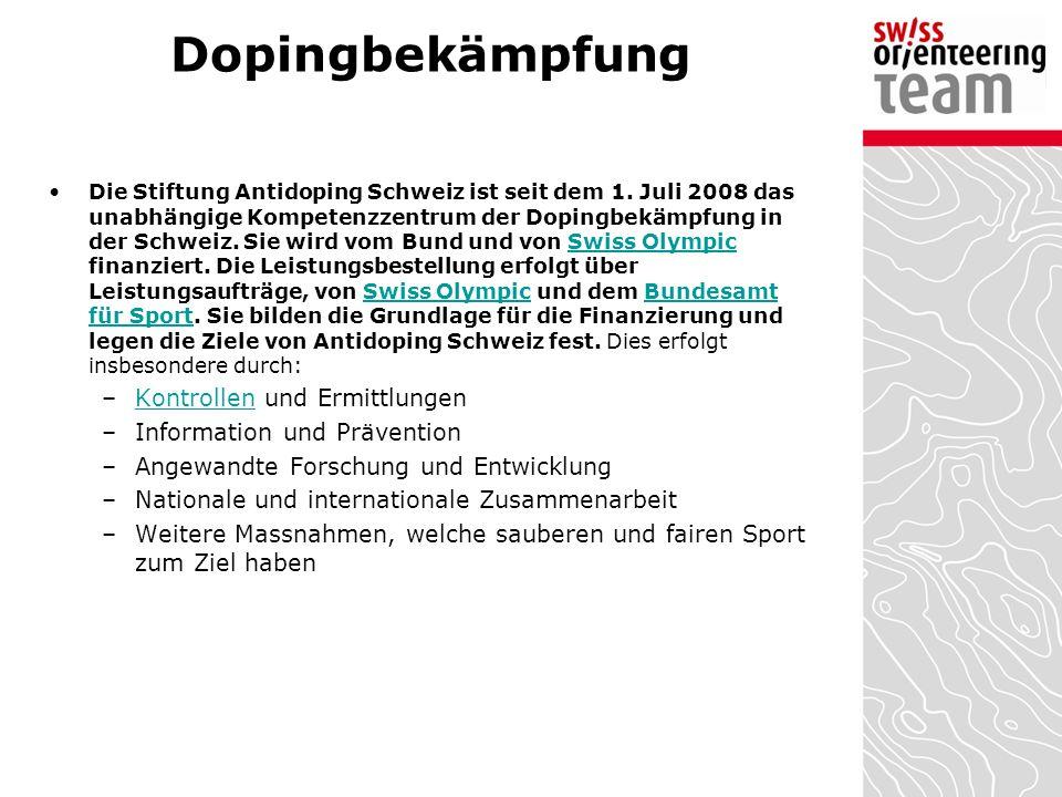 Dopingbekämpfung Die Stiftung Antidoping Schweiz ist seit dem 1. Juli 2008 das unabhängige Kompetenzzentrum der Dopingbekämpfung in der Schweiz. Sie w