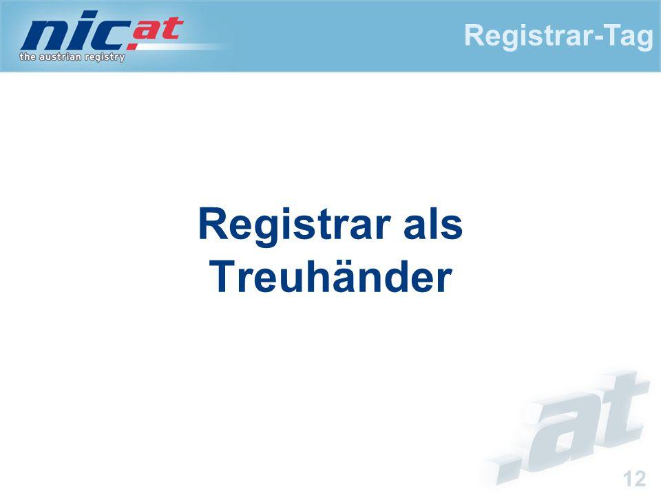 Registrar-Tag 12 Registrar als Treuhänder