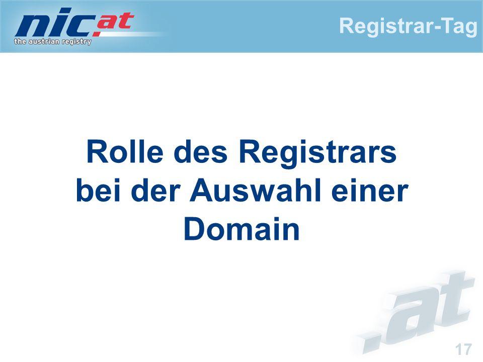 Registrar-Tag 17 Rolle des Registrars bei der Auswahl einer Domain
