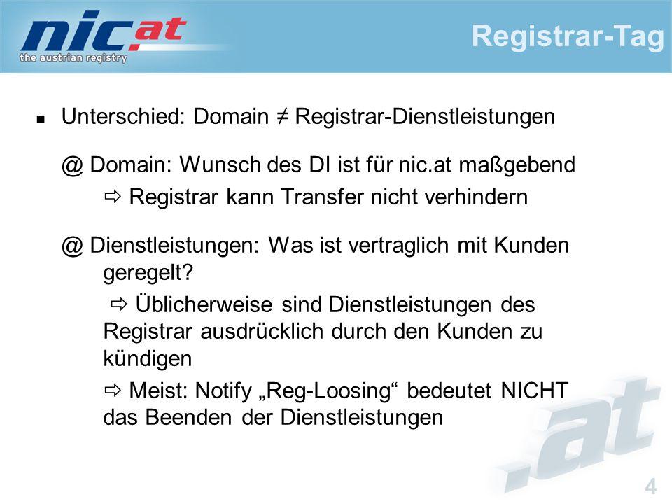 Registrar-Tag 4 Unterschied: Domain ≠ Registrar-Dienstleistungen @ Domain: Wunsch des DI ist für nic.at maßgebend  Registrar kann Transfer nicht verh