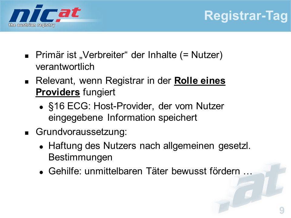 """Registrar-Tag 9 Primär ist """"Verbreiter der Inhalte (= Nutzer) verantwortlich Relevant, wenn Registrar in der Rolle eines Providers fungiert §16 ECG: Host-Provider, der vom Nutzer eingegebene Information speichert Grundvoraussetzung: Haftung des Nutzers nach allgemeinen gesetzl."""