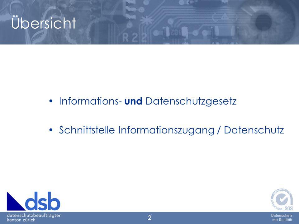 2 Übersicht Informations- und Datenschutzgesetz Schnittstelle Informationszugang / Datenschutz