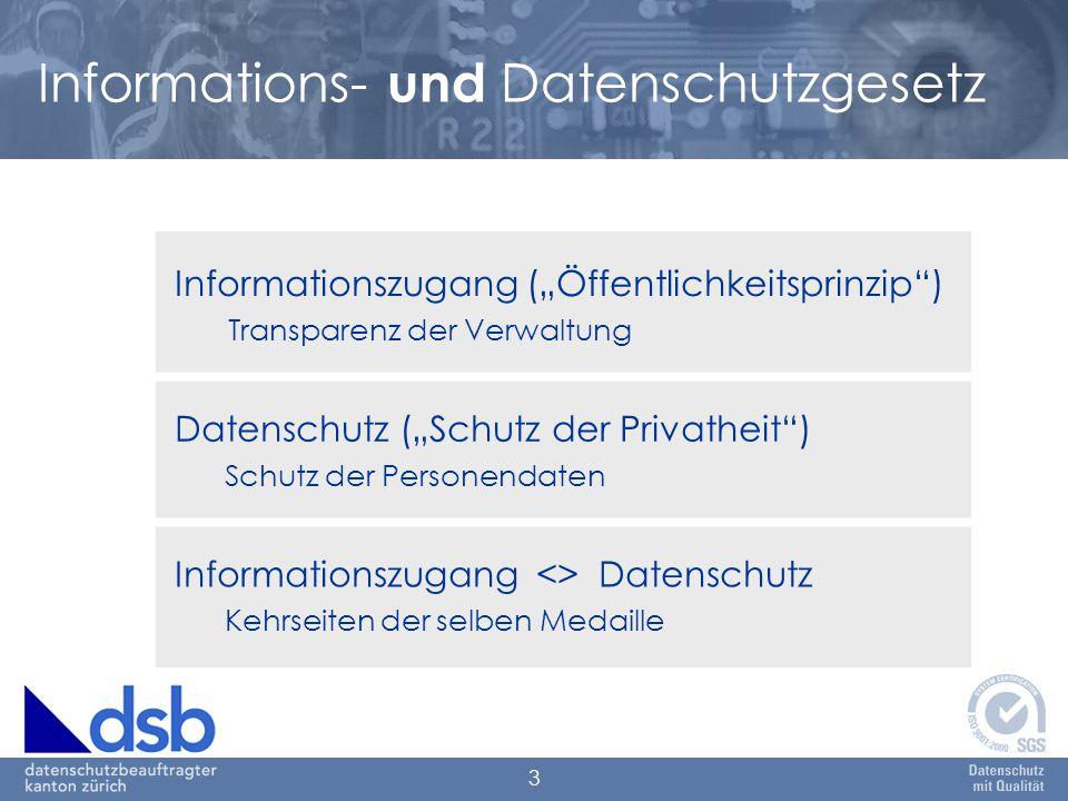 """3 Informations- und Datenschutzgesetz Informationszugang (""""Öffentlichkeitsprinzip ) Transparenz der Verwaltung Datenschutz (""""Schutz der Privatheit ) Schutz der Personendaten Informationszugang <> Datenschutz Kehrseiten der selben Medaille"""