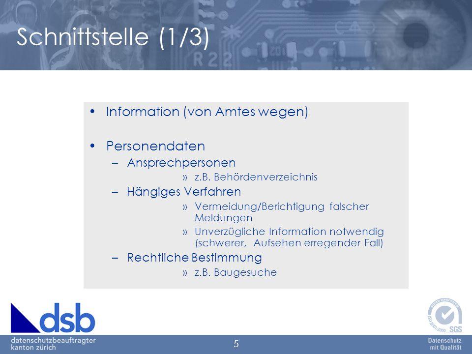 5 Schnittstelle (1/3) Information (von Amtes wegen) Personendaten –Ansprechpersonen »z.B. Behördenverzeichnis –Hängiges Verfahren »Vermeidung/Berichti