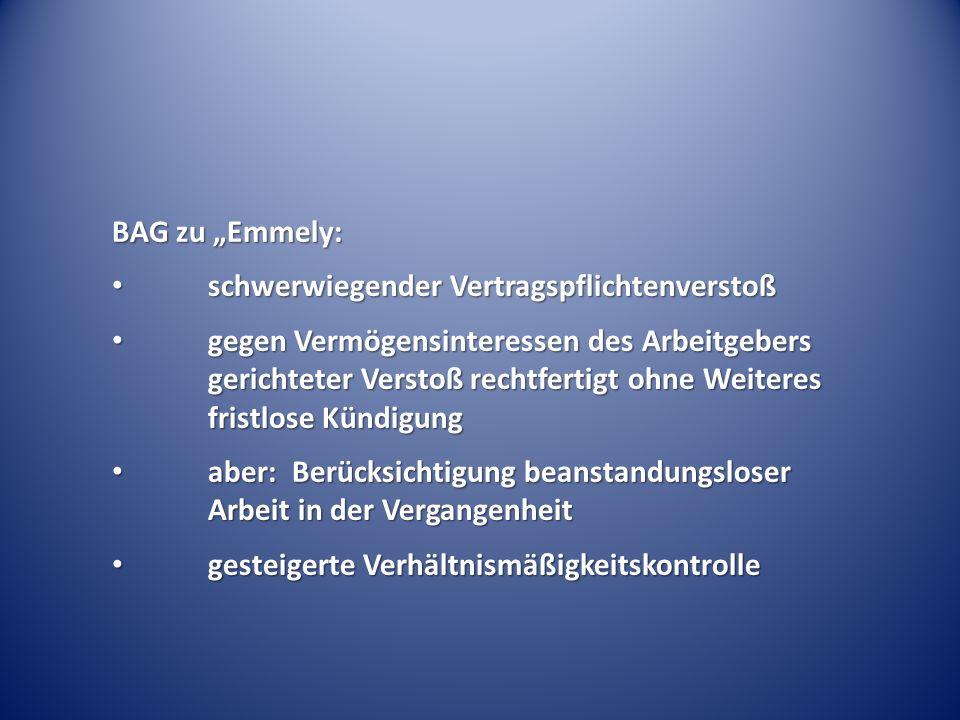 """BAG zu """"Emmely: schwerwiegender Vertragspflichtenverstoß schwerwiegender Vertragspflichtenverstoß gegen Vermögensinteressen des Arbeitgebers gerichtet"""