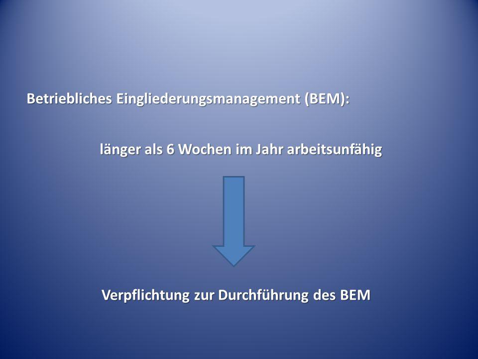 länger als 6 Wochen im Jahr arbeitsunfähig Verpflichtung zur Durchführung des BEM Verpflichtung zur Durchführung des BEM Betriebliches Eingliederungsm