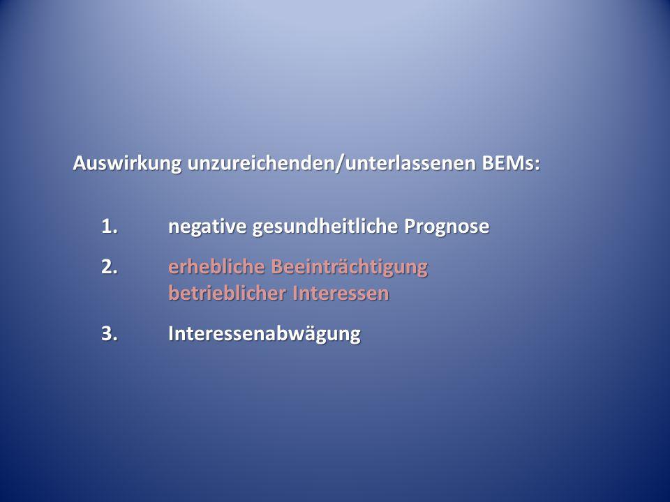 Auswirkung unzureichenden/unterlassenen BEMs: 1.negative gesundheitliche Prognose 2.erhebliche Beeinträchtigung betrieblicher Interessen 3.Interessena