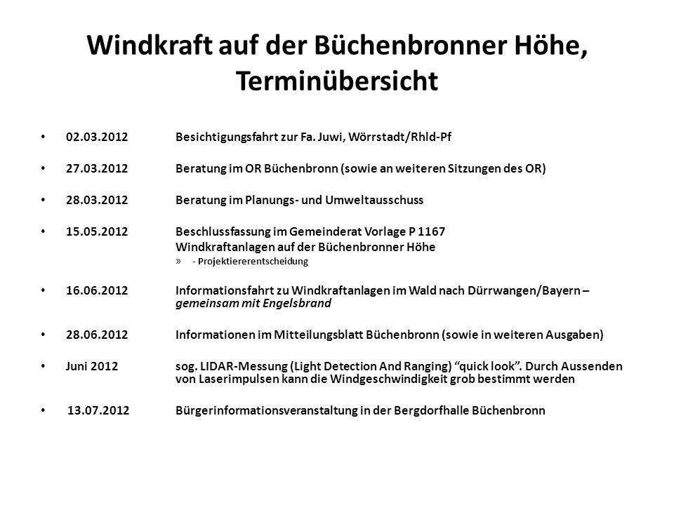 Windkraft auf der Büchenbronner Höhe, Terminübersicht 02.03.2012Besichtigungsfahrt zur Fa.