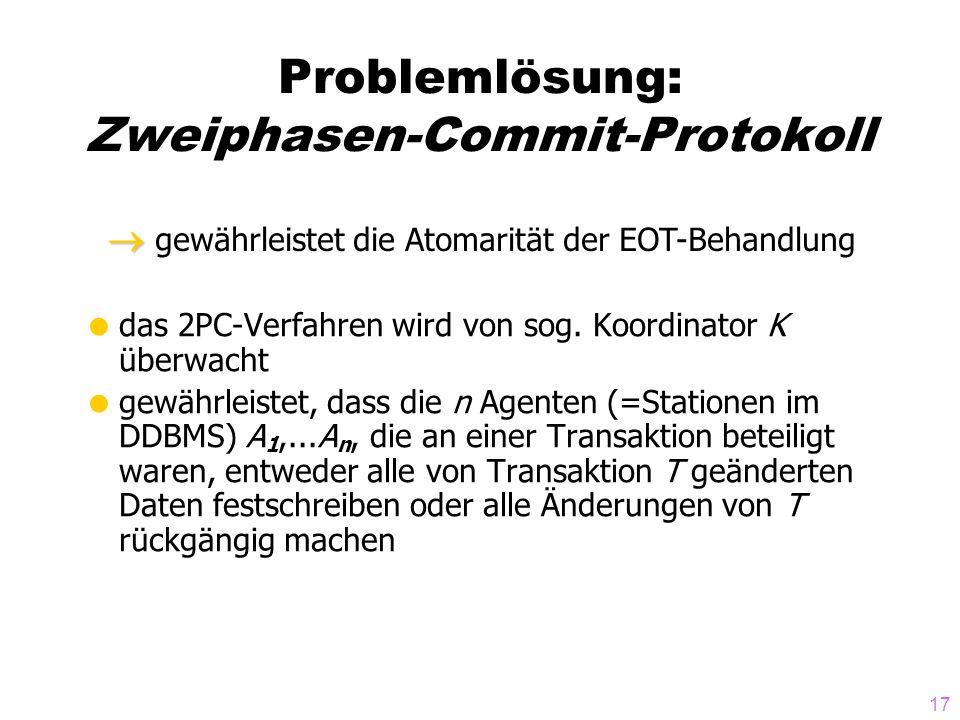 17 Problemlösung: Zweiphasen-Commit-Protokoll  das 2PC-Verfahren wird von sog. Koordinator K überwacht  gewährleistet, dass die n Agenten (=Statione