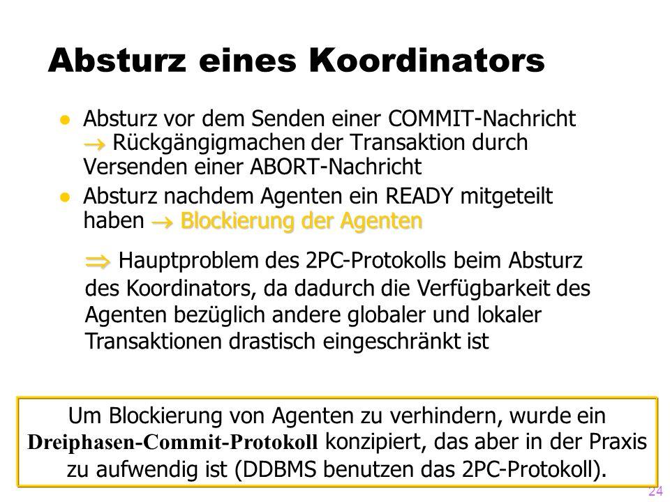 24 Absturz eines Koordinators  ●Absturz vor dem Senden einer COMMIT-Nachricht  Rückgängigmachen der Transaktion durch Versenden einer ABORT-Nachrich