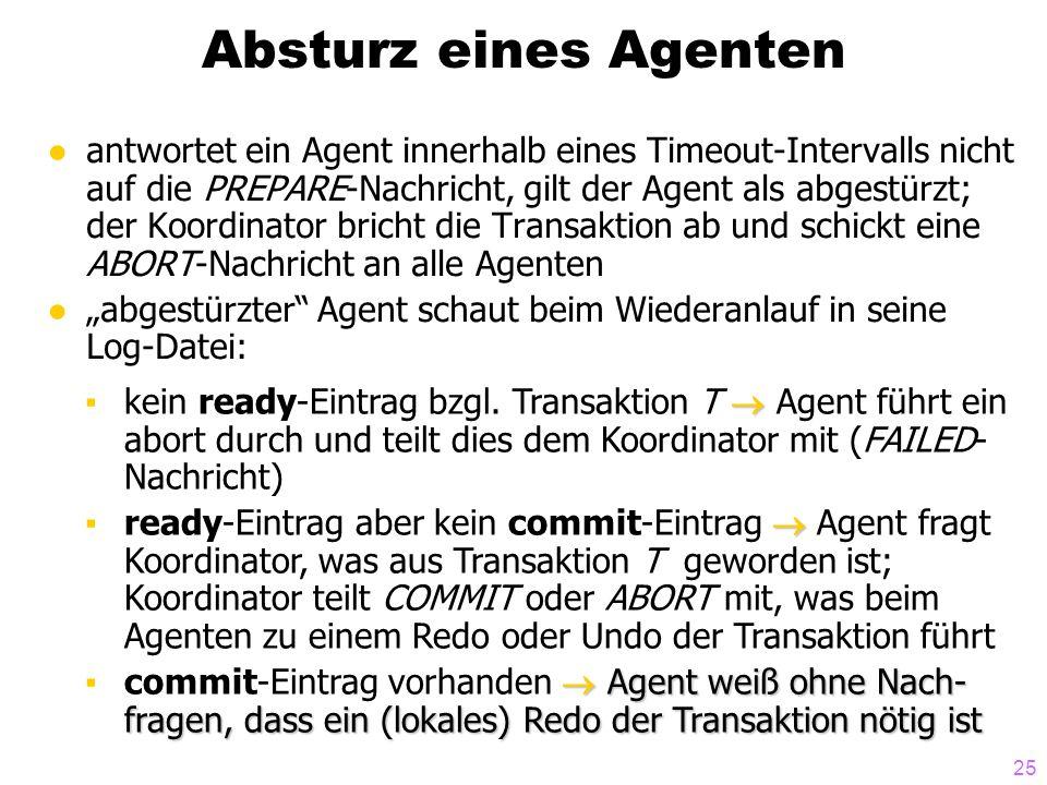 25 Absturz eines Agenten ●antwortet ein Agent innerhalb eines Timeout-Intervalls nicht auf die PREPARE-Nachricht, gilt der Agent als abgestürzt; der K