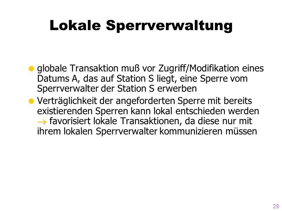 29 Lokale Sperrverwaltung  globale Transaktion muß vor Zugriff/Modifikation eines Datums A, das auf Station S liegt, eine Sperre vom Sperrverwalter d