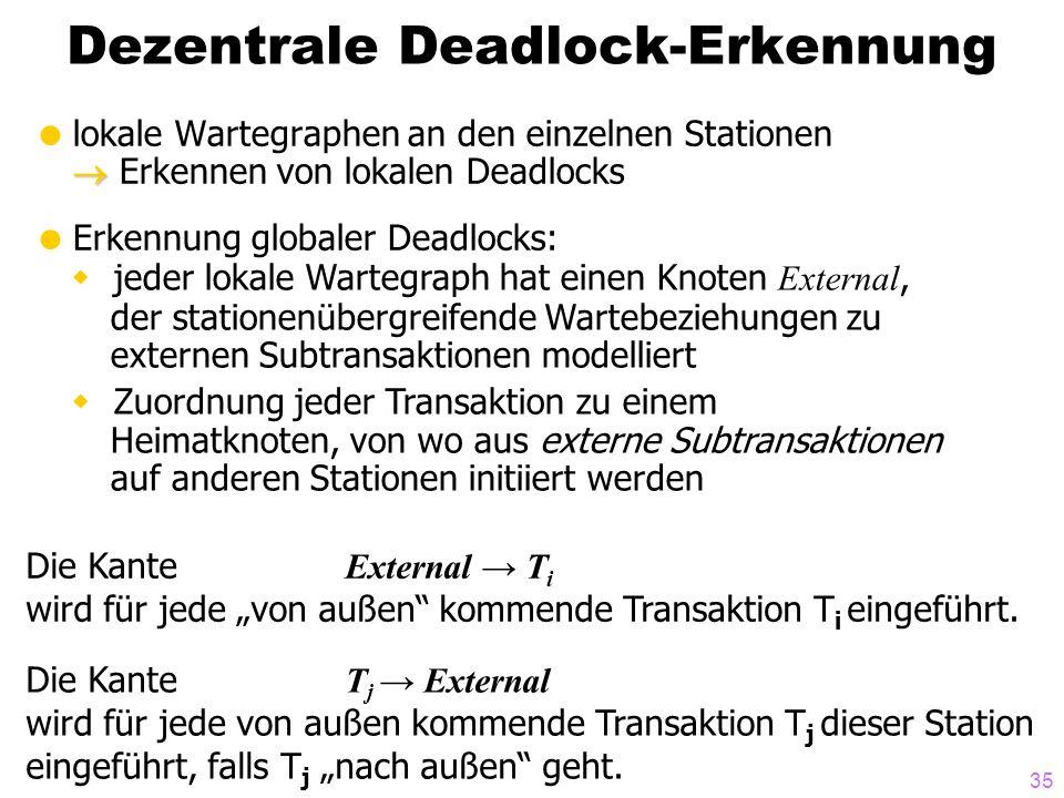 35 Dezentrale Deadlock-Erkennung   lokale Wartegraphen an den einzelnen Stationen  Erkennen von lokalen Deadlocks  Erkennung globaler Deadlocks: 