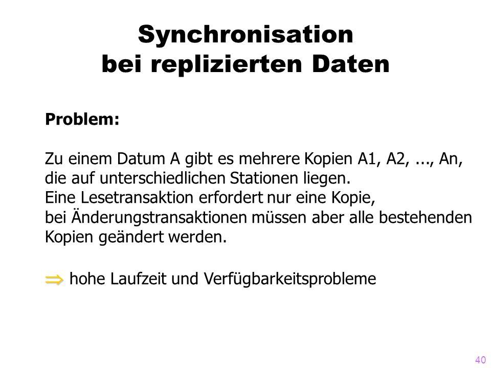 40 Synchronisation bei replizierten Daten Problem: Zu einem Datum A gibt es mehrere Kopien A1, A2,..., An, die auf unterschiedlichen Stationen liegen.