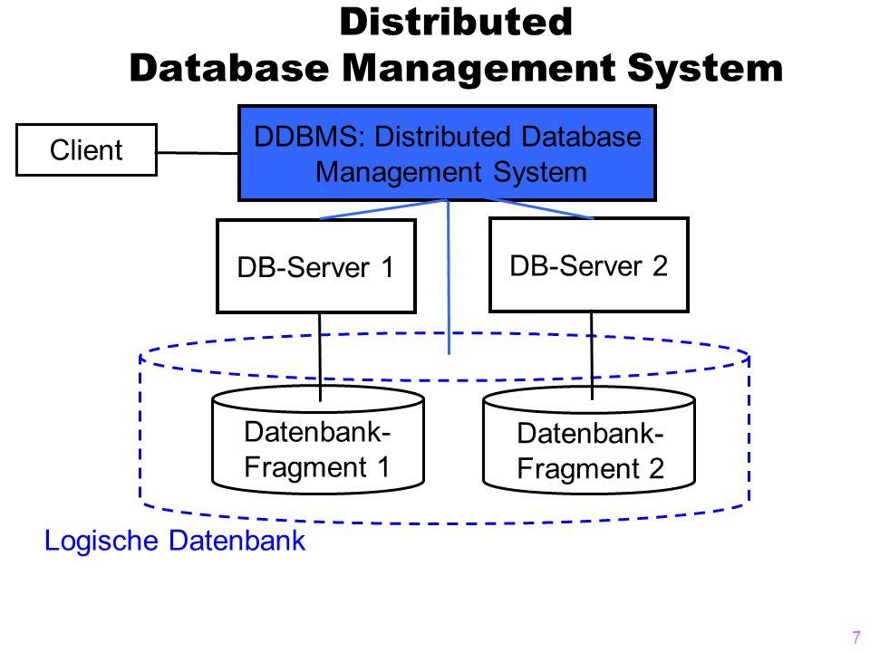 8 Aufgaben des DDBMS  entscheidet darüber, ob Datenbankoperationen lokal oder im verteilten System stattfinden  Optimierung der Zugriffspfade zu den Daten für schnelle Abfragen  Ermittlung der physikalischen Standorte der Daten  Implementierung von Sicherheitsfunktionen  Backup und Recovery über das gesamte Datennetz  serverübergreifende Transaktionsverwaltung  lässt mehrere Datenbank-Fragmente für den Client wie eine einzige logische Datenbank aussehen  → DDBMS muss sämtliche Funktionen eines DBMS implementieren plus Funktionen für die verteilte Datenverwaltung und -verarbeitung