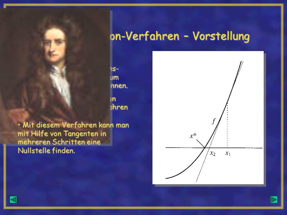 Das Newton-Verfahren – Vorstellung Manchmal sind die Funktions- vorschriften zu kompliziert um Nullstellen ausrechnen zu können. Manchmal sind die Fun