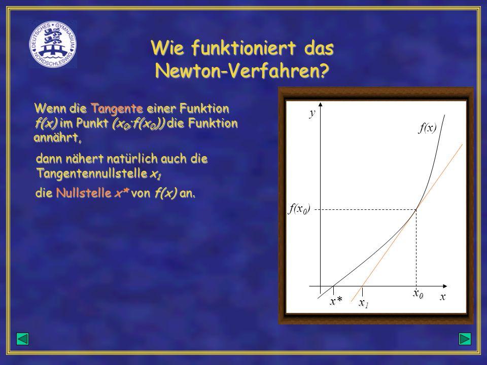 Wie funktioniert das Newton-Verfahren? x0x0x0x0 f(x 0 ) f(x) y x Wenn die Tangente einer Funktion f(x) im Punkt (x 0 ;f(x 0 )) die Funktion annährt, x