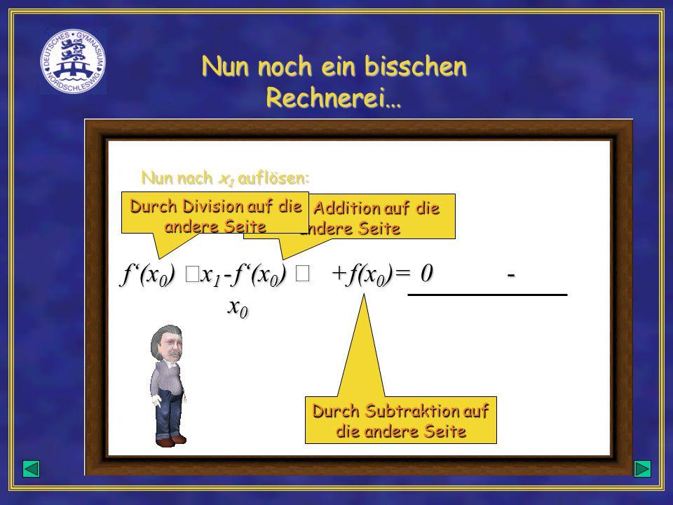 Nun noch ein bisschen Rechnerei… f'(x 0 )  x1x1x1x1- f'(x 0 )  x 0 + f(x 0 ) =0 Nun nach x 1 auflösen: - Durch Addition auf die andere Seite Durch Subtraktion auf die andere Seite Durch Division auf die andere Seite