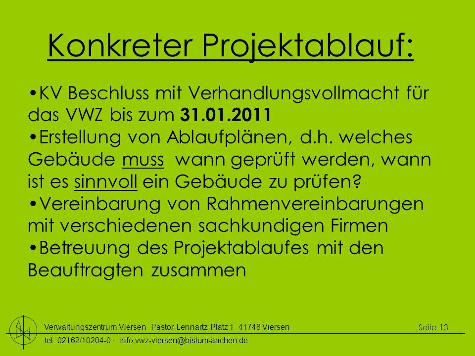 Verwaltungszentrum Viersen ∙ Pastor-Lennartz-Platz 1∙ 41748 Viersen tel. 02162/10204-0 ∙ info.vwz-viersen@bistum-aachen.de Seite 13 Konkreter Projekta