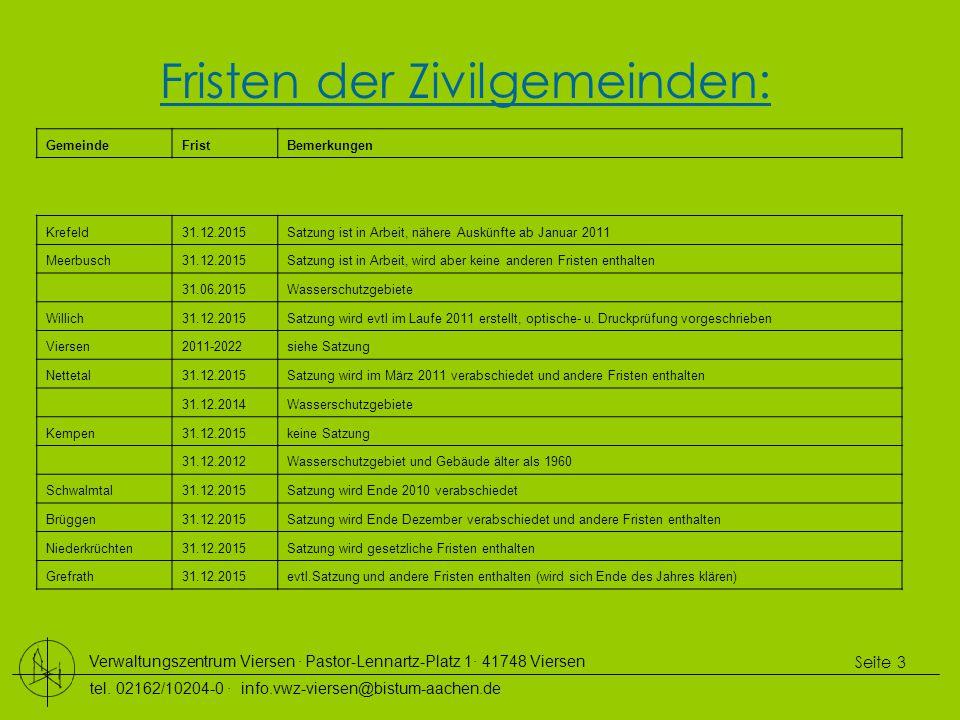 Verwaltungszentrum Viersen ∙ Pastor-Lennartz-Platz 1∙ 41748 Viersen tel. 02162/10204-0 ∙ info.vwz-viersen@bistum-aachen.de Seite 3 Fristen der Zivilge