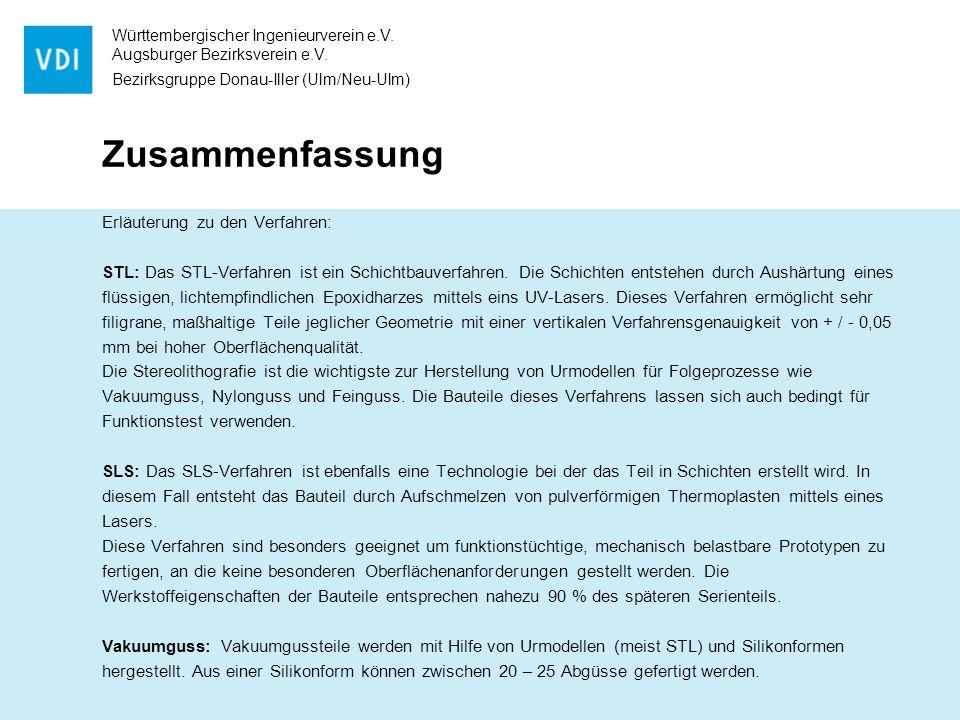 Württembergischer Ingenieurverein e.V. Augsburger Bezirksverein e.V. Bezirksgruppe Donau-Iller (Ulm/Neu-Ulm) Zusammenfassung Erläuterung zu den Verfah