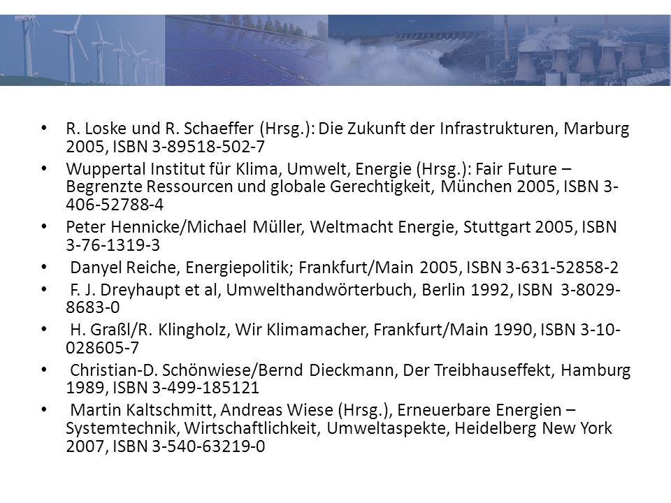 R. Loske und R. Schaeffer (Hrsg.): Die Zukunft der Infrastrukturen, Marburg 2005, ISBN 3-89518-502-7 Wuppertal Institut für Klima, Umwelt, Energie (Hr