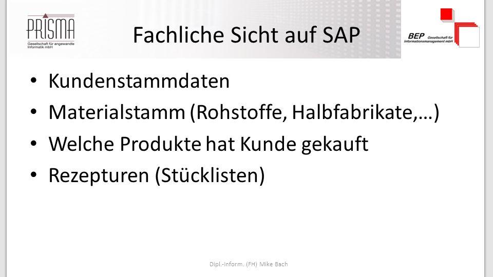 Fachliche Sicht auf SAP Kundenstammdaten Materialstamm (Rohstoffe, Halbfabrikate,…) Welche Produkte hat Kunde gekauft Rezepturen (Stücklisten) Dipl.-Inform.