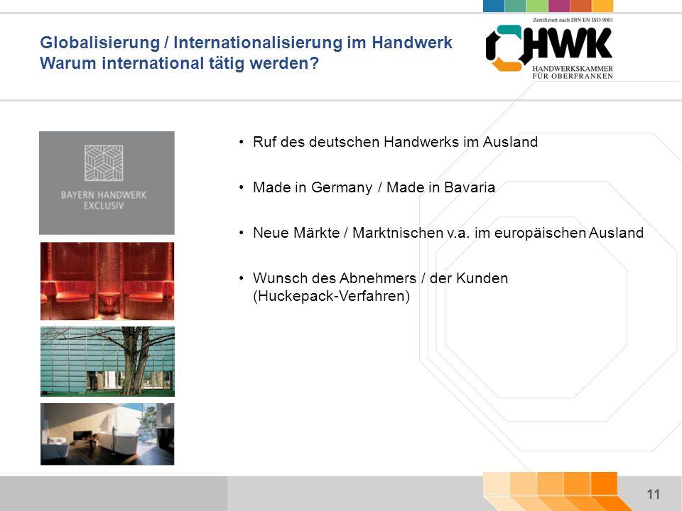 11 Globalisierung / Internationalisierung im Handwerk Warum international tätig werden.