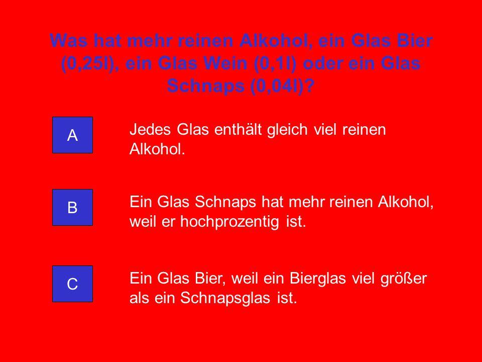 Was hat mehr reinen Alkohol, ein Glas Bier (0,25l), ein Glas Wein (0,1l) oder ein Glas Schnaps (0,04l)? A C B Jedes Glas enthält gleich viel reinen Al