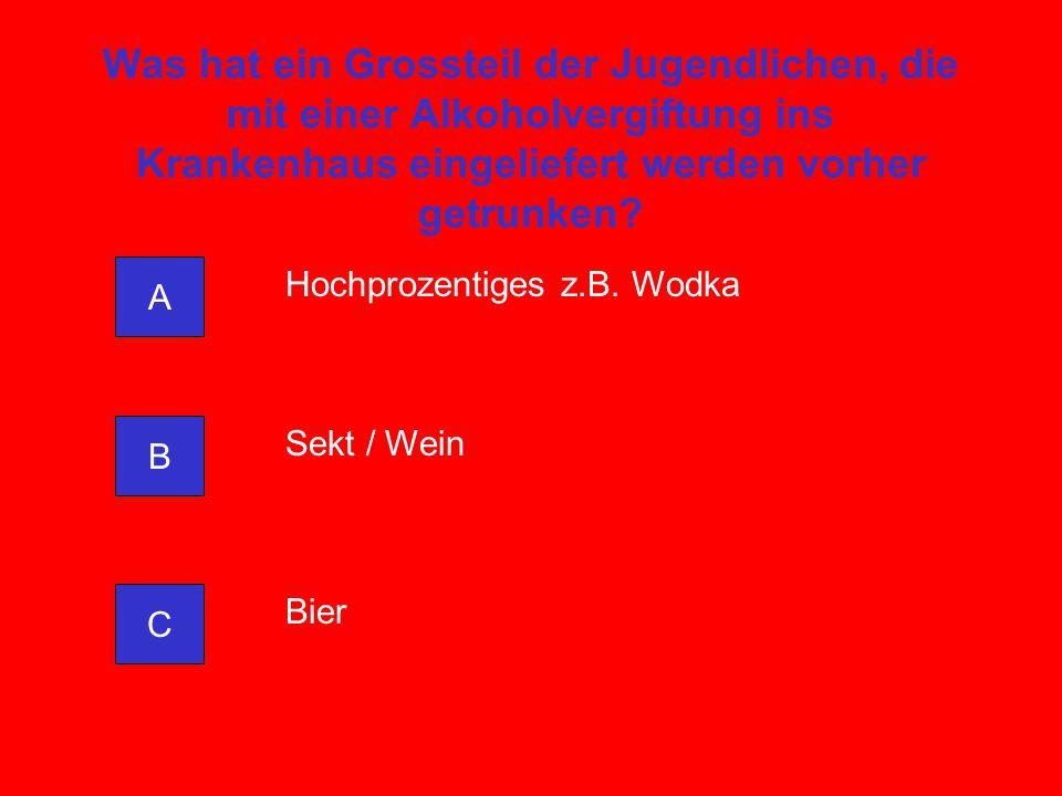 Was hat ein Grossteil der Jugendlichen, die mit einer Alkoholvergiftung ins Krankenhaus eingeliefert werden vorher getrunken? A C B Hochprozentiges z.