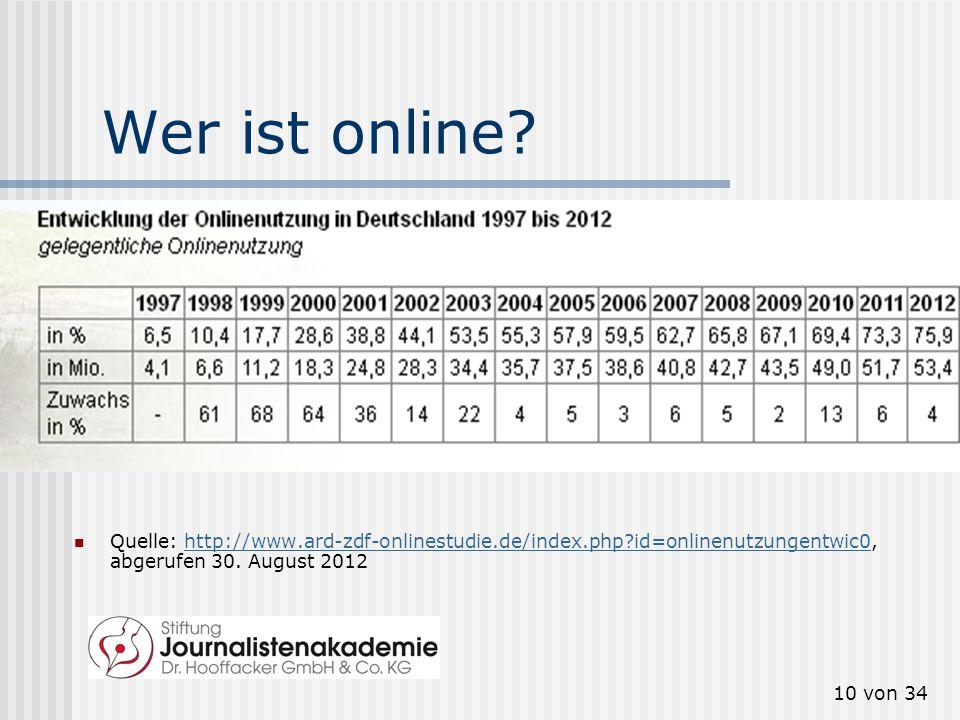9 von 34 Was ist neu am Internet? Das Mediensystem, vor und nach der Erfindung des Internets. Quelle: Christoph Neuberger, zitiert nach: Klaus Meier,