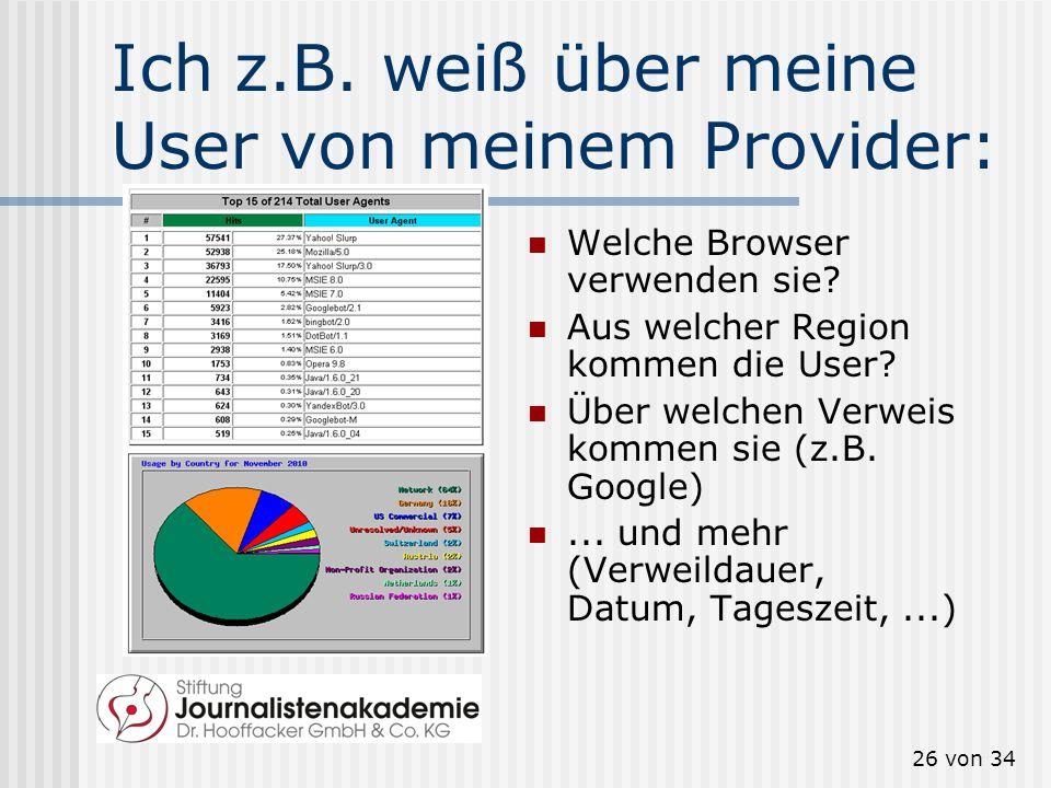 25 von 34 Sie sind einzigartig! Die Electronic Frontier Fourndation (eff.org) zeigt, was jeder Server über Sie weiß: IP-Adresse Betriebssystem Sprache