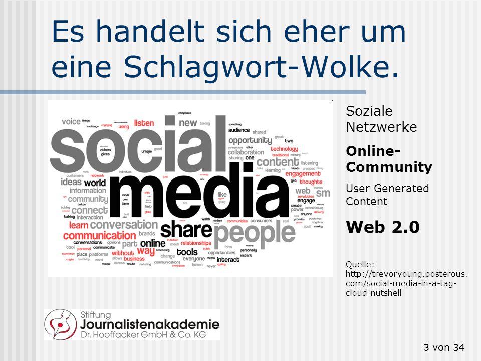 """2 von 34 Social Media? Web 2.0? Der Begriff """"Social media"""" löst den Begriff """"Web 2.0"""" allmählich ab. Aber was bedeutet """"Social Media""""? (Tipp: trends.g"""