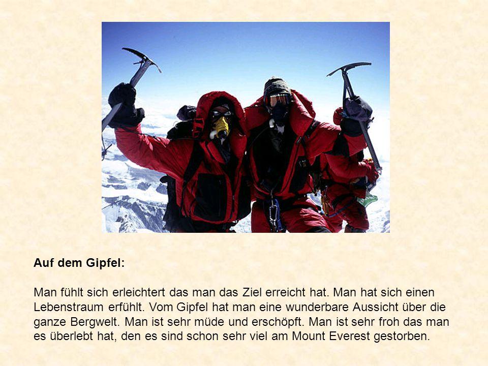 Auf dem Gipfel: Man fühlt sich erleichtert das man das Ziel erreicht hat. Man hat sich einen Lebenstraum erfühlt. Vom Gipfel hat man eine wunderbare A