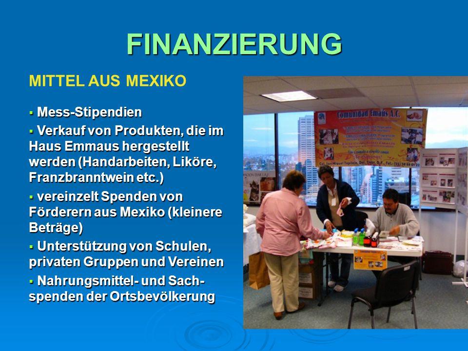 FINANZIERUNG MITTEL AUS MEXIKO  Mess-Stipendien  Verkauf von Produkten, die im Haus Emmaus hergestellt werden (Handarbeiten, Liköre, Franzbranntwein