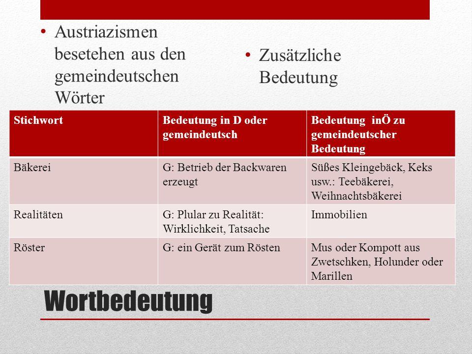 Wortbedeutung Austriazismen besetehen aus den gemeindeutschen Wörter Zusätzliche Bedeutung StichwortBedeutung in D oder gemeindeutsch Bedeutung inÖ zu