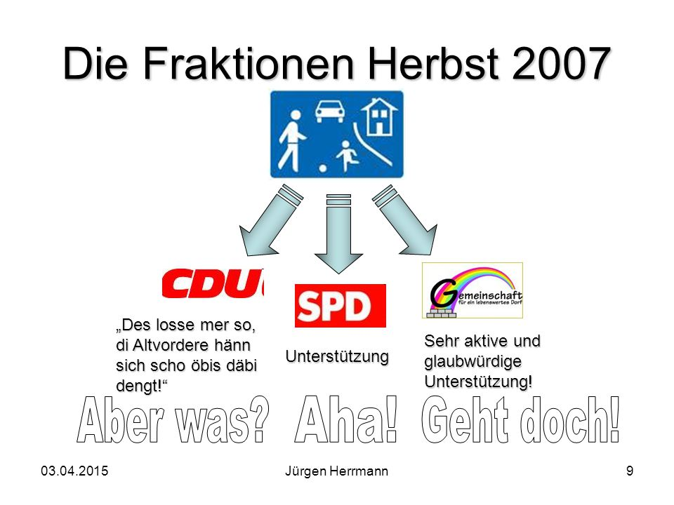 """03.04.2015Jürgen Herrmann9 Die Fraktionen Herbst 2007 """"Des losse mer so, di Altvordere hänn sich scho öbis däbi dengt! Unterstützung Sehr aktive und glaubwürdige Unterstützung!"""