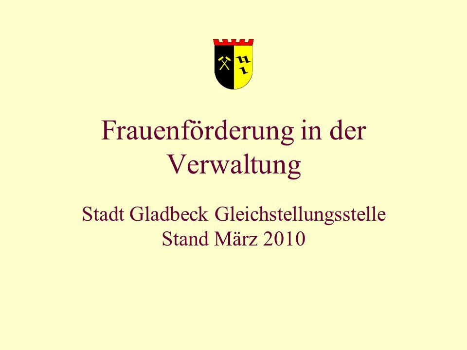 Gleichstellungsstellungsbeauftragte Barbara Richter 1 Frauenförderung in der Verwaltung Stadt Gladbeck Gleichstellungsstelle Stand März 2010